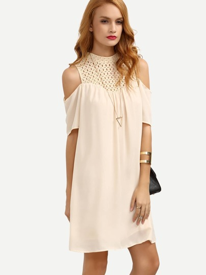 Apricot Cold Shoulder Hollow Patchwork Shift Dress