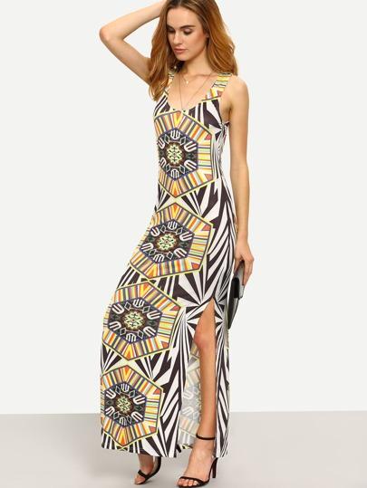 Multicolor Print Sleeveless Split Side Dress