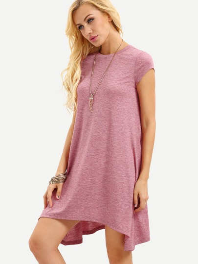 Pink Cap Sleeve Asymmetrical Dress