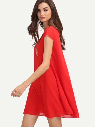 Red V Neck Cap Sleeve Shift Dress