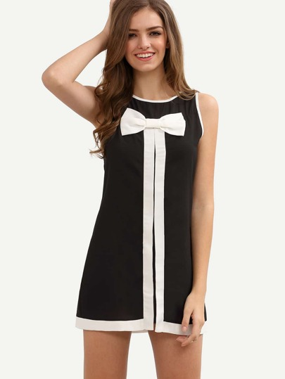 Black Bow Sleeveless Shift Dress