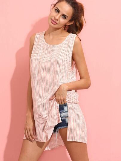 Pink Sleeveless Print Dip Hem Split Side Dress