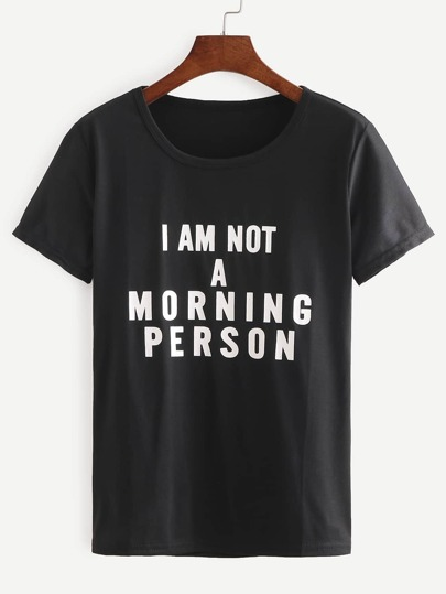 Camiseta letras larga -negro