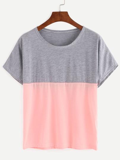 Camiseta suelta color combinado -gris rosa
