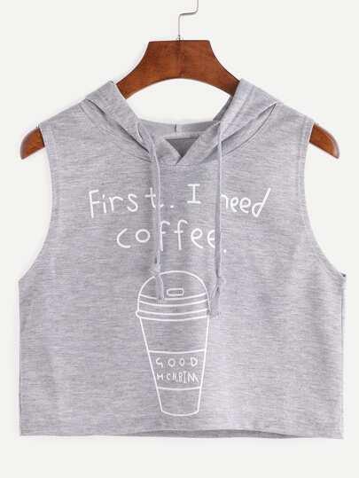 Hooded Coffee Cup Print Sleeveless Grey Dip Hem Top