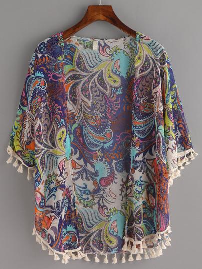 Tassel Trimmed Paisley Print Kimono