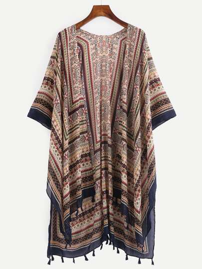 Tassel Trimmed Tribal Print Long Kimono