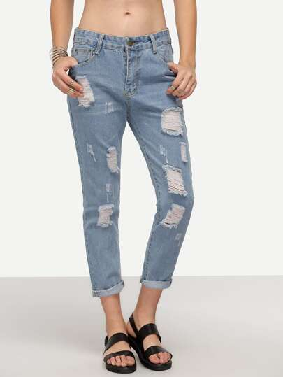 Light Blue Ripped Denim Cuffed Pants