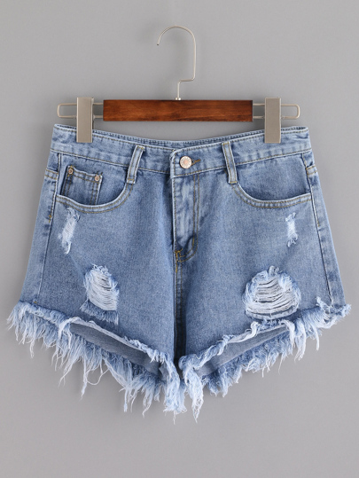 Blue Ripped Tassel Denim Shorts