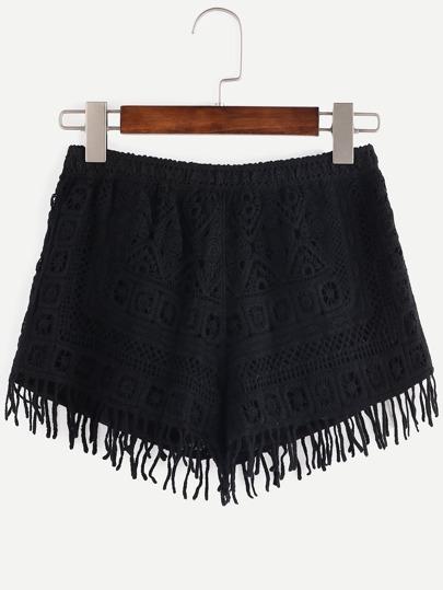 Crochet Elastic Waist Fringe Black Loose Shorts