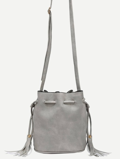 Tassel Drawstring Bucket Bag - Grey