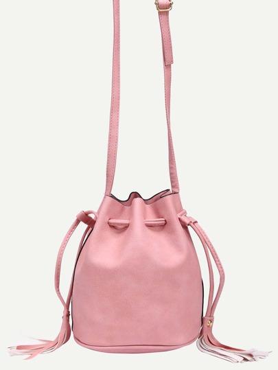 Tassel Drawstring Bucket Bag - Pink