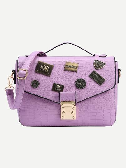 Crocodile Embossed Charm Embellished Flap Bag - Purple