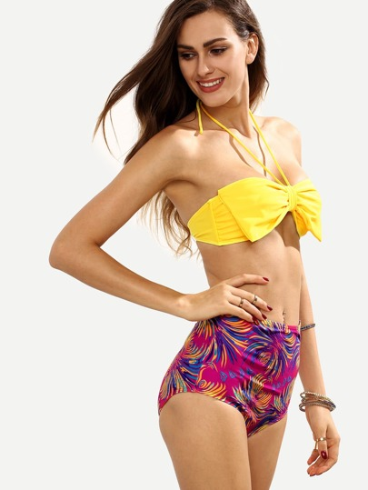 Bow Embellished Mix & Match Bandeau Bikini Set - Multicolor