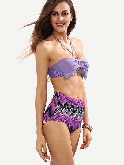 Bow Embellished Mix & Match Bandeau Bikini Set - Multicolor