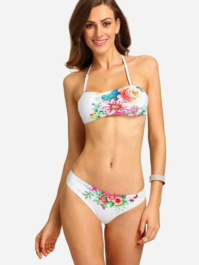 Flower Print Bandeau Bikini Set - White