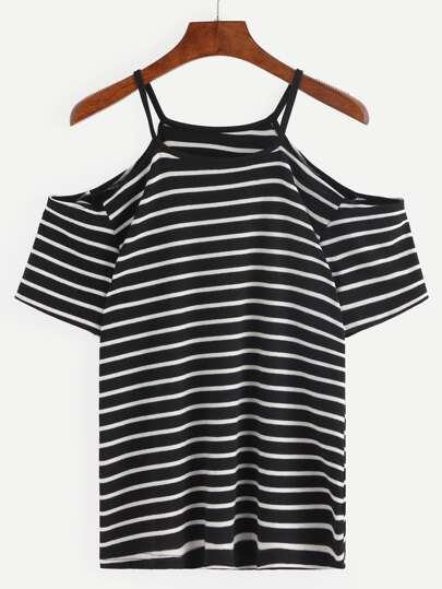 Cold Shoulder Black White Striped T-shirt