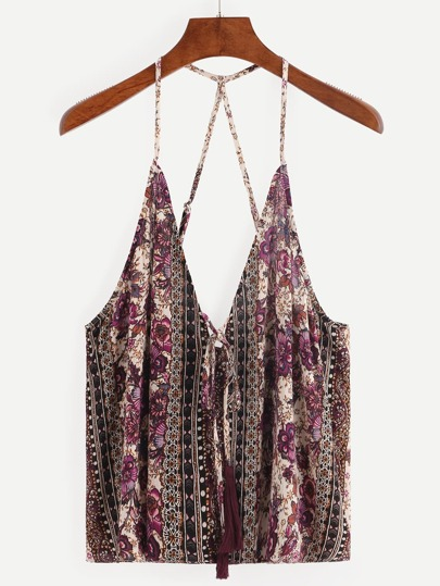Tassel-Tie Strappy Multicolor Flower Print Cami Top