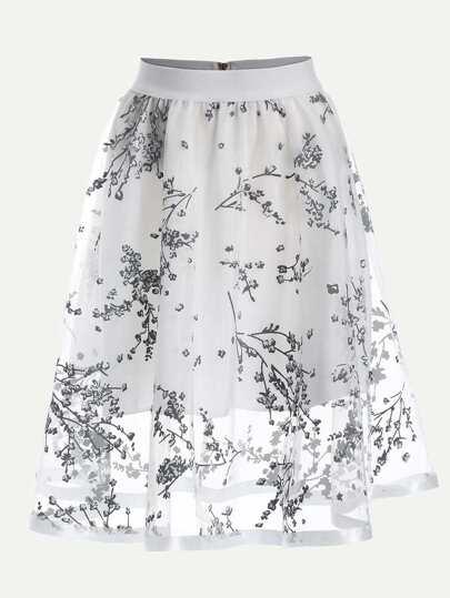 Blossom Print Mesh Overlay Midi Skirt - White