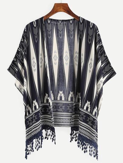 Fringe Trimmed Geometric Print Kimono - Navy
