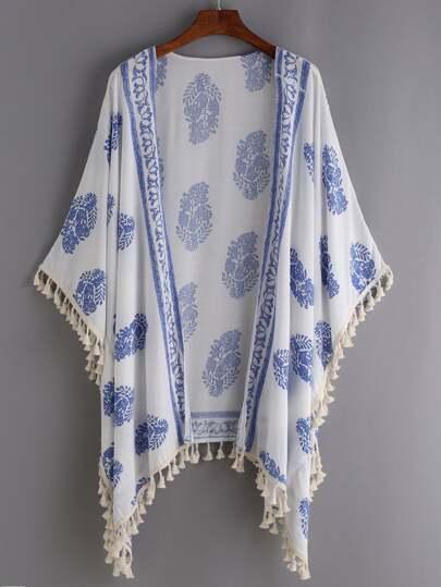 Tassel Trimmed Printed Kimono - White