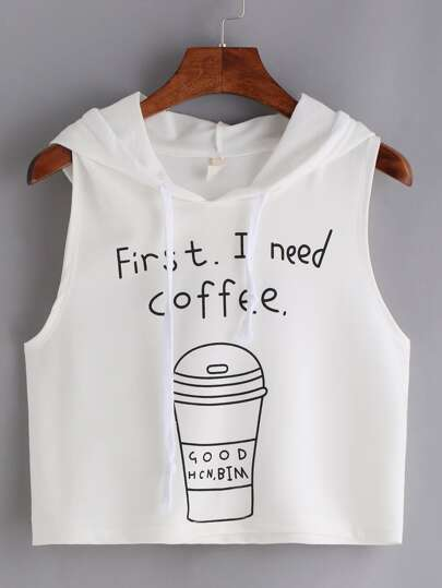Letter & Coffer Print Crop Tank Top