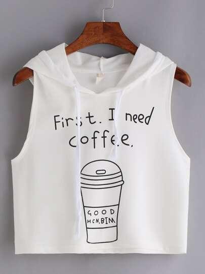 Top imprimé café sans manche avec capuche - blanc