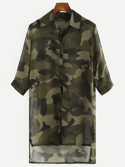 Olive Green Camo Print High-Low Chiffon Blouse