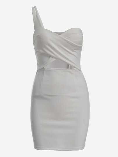 One-Shoulder Cutout Cross Wrap Sheath Dress - White