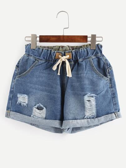 Ripped Rolled Hem Drawstring Blue Denim Shorts