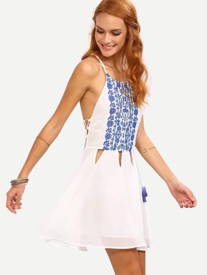 Cutout Lace-Up Side Printed Chiffon Cami Dress - White