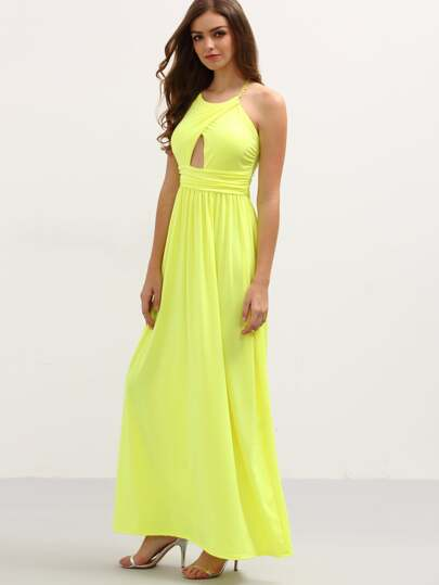 Halter Neck Slit Front Ruched Long Dress - Yellow
