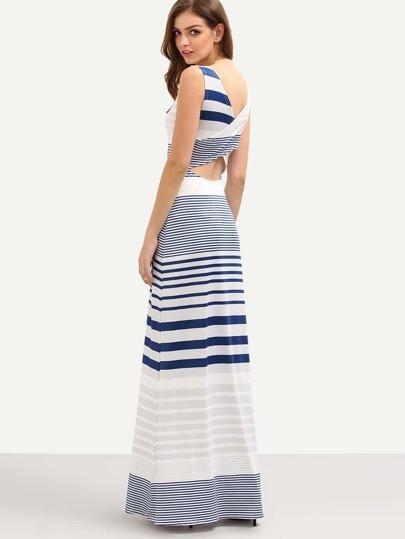 Cutout Cross Wrap Back Multicolor Striped Tank Dress