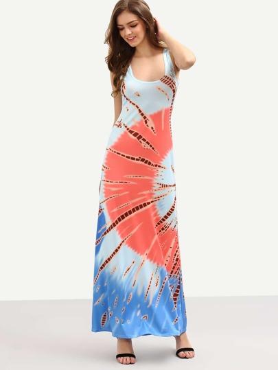 Multicolor Printed Long Tank Dress