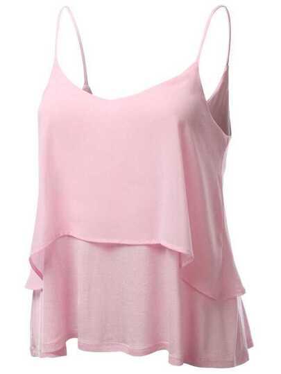 Layered Chiffon Cami Top - Pink