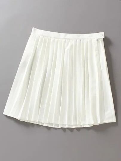 White High Waist Oblique Zipper Pleated Skirt
