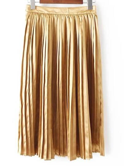 Golden High Waist Minimalist Zipper Pleated  Dress