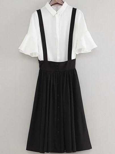 White Bell Sleeve Lapel Blouse With Black Zipper Dress