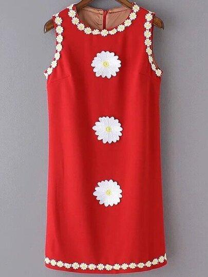 Red Sleeveless Embroidery Zipper Back Dress