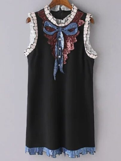 Black Sleeveless Bow Embroidery Paillette Dress