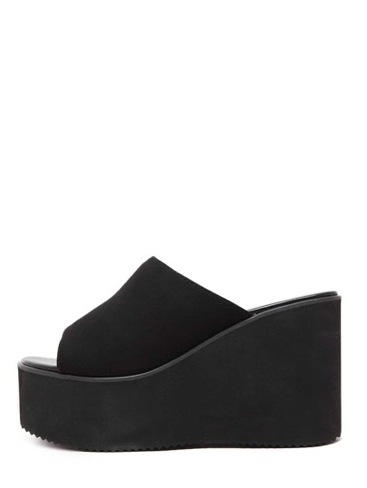 Black Peep Toe Faux Suede Wedges