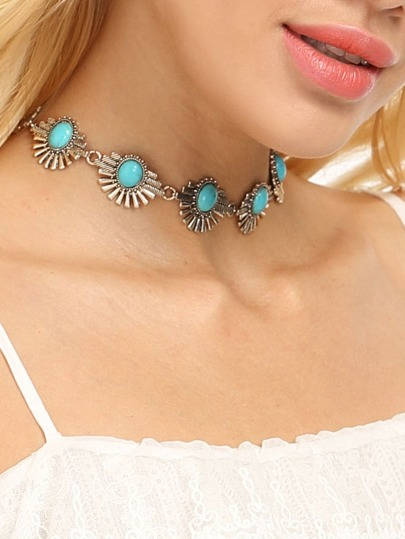 Antique Silver Boho Turquoise Choker