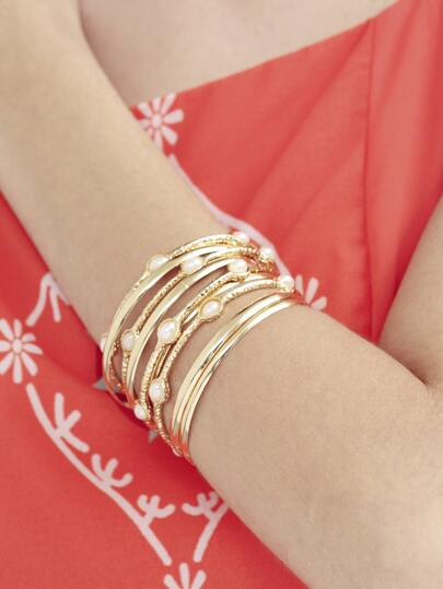Golden Multilayer Pearl Bracelet