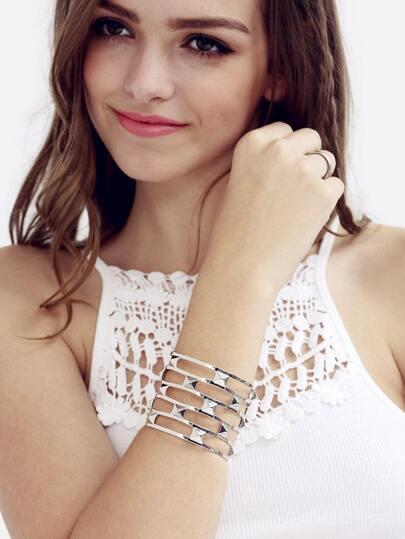 Silver Hollow Wide Cuff Bracelet