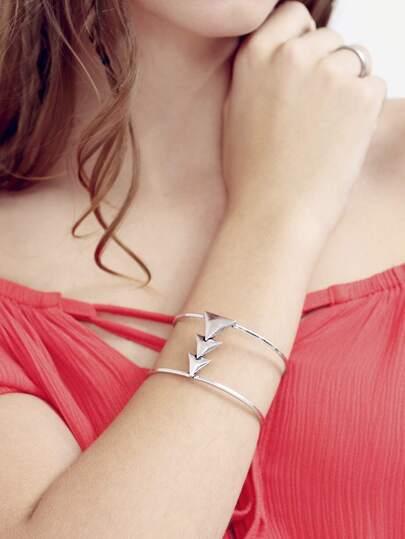 Silver Triangle Wide Cuff Bracelet