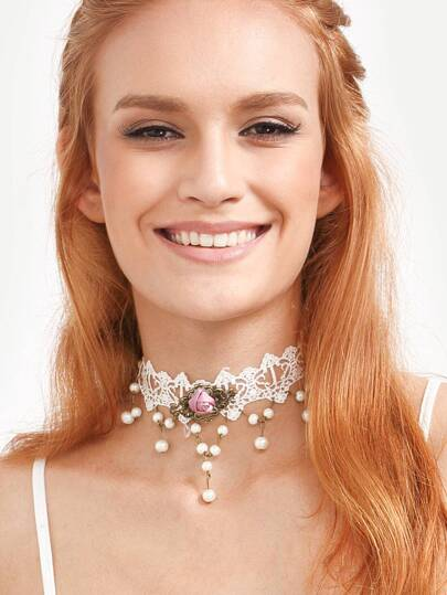 White Royal Pearl Flower Lace Necklace