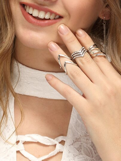 Silver V-shaped Metal Ring Set - 3 PCS