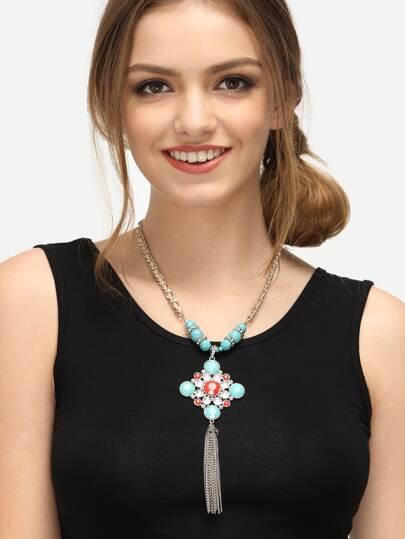 Collier avec franges - turquoise