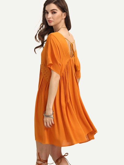 Orange Short Sleeve V Neck Tie Back Dress