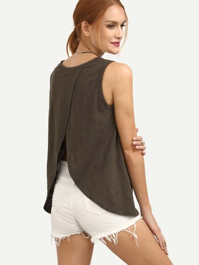 Army Green Sleeveless Split Back T-shirt